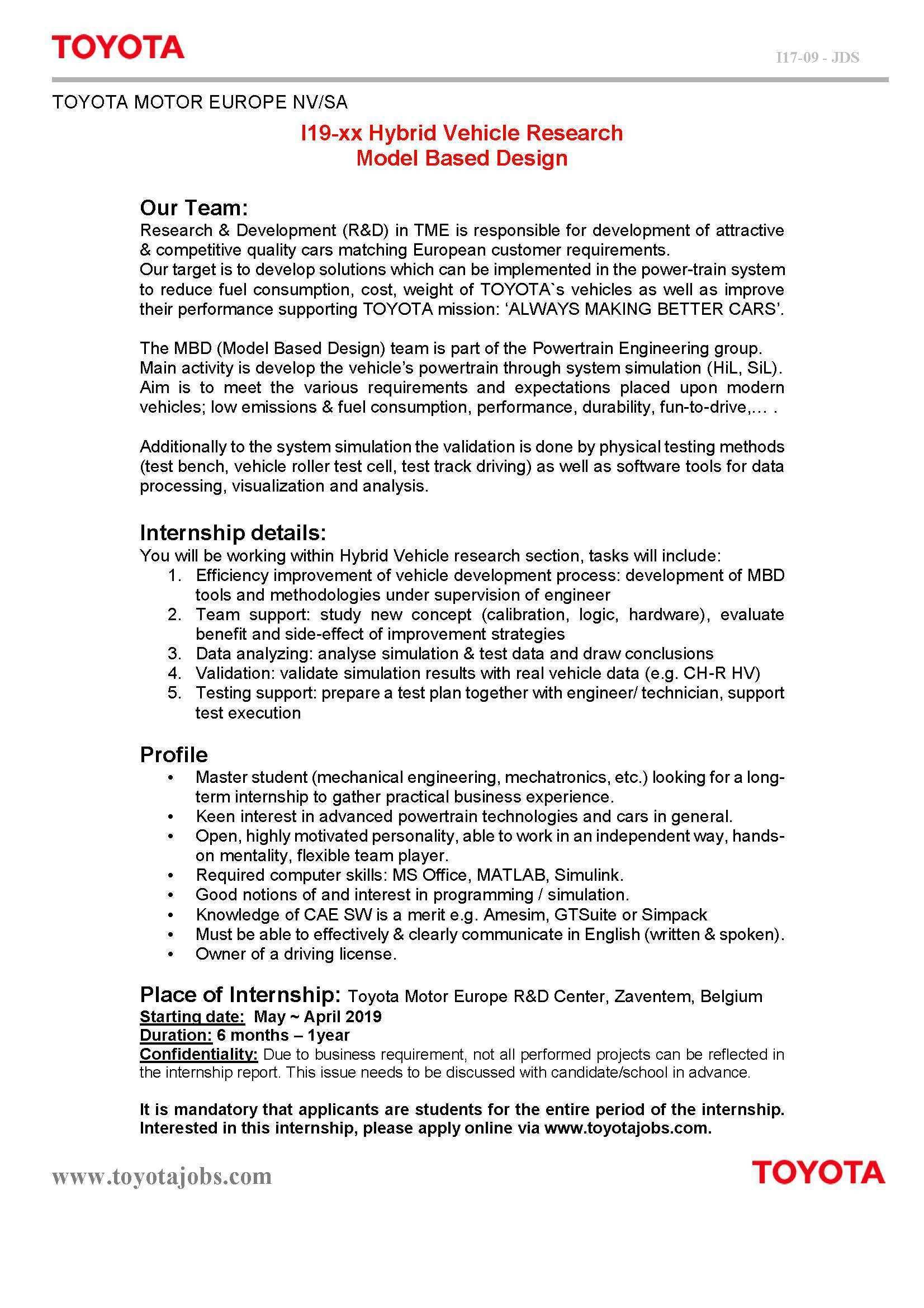 33 Concept of Toyota Internship 2019 Spesification by Toyota Internship 2019